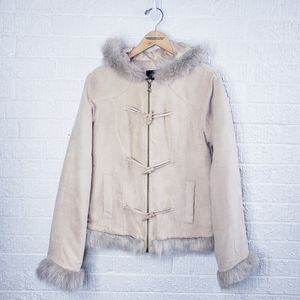 Rue 21 faux shearling hooded toggle jacket